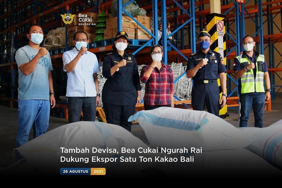 Tambah Devisa, Bea Cukai Ngurah Rai Dukung Ekspor Satu Ton Kakao Bali